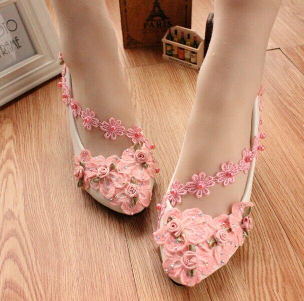 Elegant Pink Lace Appliques Pearl Wedding Dress Kitten Heels Prom Round Toe Bridal Shoes