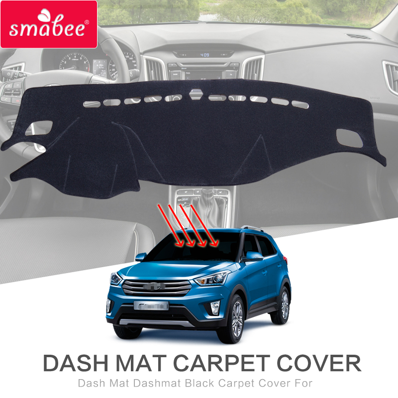 smabee Dash Mat Dashmat Black Carpet Cover For HYUNDAI CRETA IX25 2015-2017 Sunscreen insulation