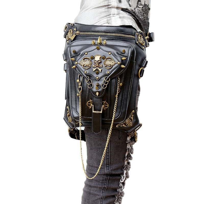 Fashion Gothic Steampunk Skull Retro Rock bag Men Women Waist Bag Shoulder Bag Phone Case Holder women messenger Bag 2017