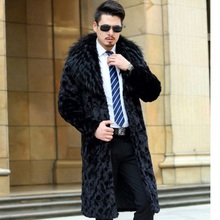 964e4750a74 Casual Turn-down Collar Long Style Men s Faux Fur Coat 2017 Winter Mink Fur  Jacket Plus Size Business Formal Overcoat XL663