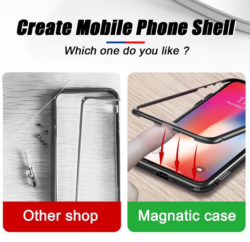 TOMKAS Magnetic Case For iPhone 7 8 X 6 6s Cover Phone Case For iPhone 7 8 6 6s Plus X Luxury Protect Metal Adsorption Coque (6)