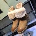 EUA 5-10 Tamanho Grande 40 41 42 Nova Marca Real couro Salto Baixo sapatos de Super Quentes de Pelúcia Botas de Neve de Inverno de Algodão sapatos