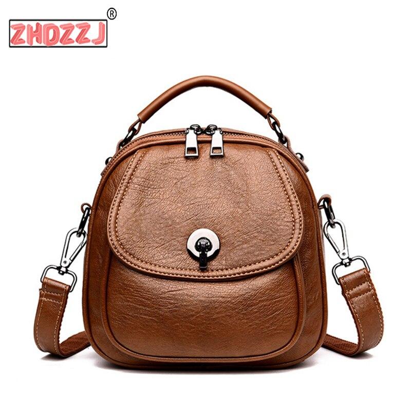 2019 Multifunction Backpacks For Girls Mochila Feminina Women Leather Backpacks High Quality Preppy Style Small Bagpack Vintage
