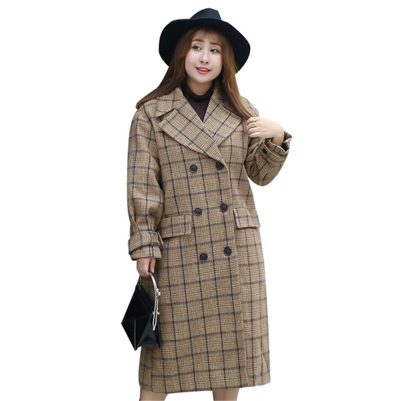 Plus Size 4XL Woolen Coat Women 2019 Spring Autumn Plaid Jackets Long Windbreaker Loose Female Double-breasted Woolen Coats N355