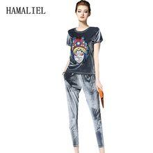 HAMALIEL 2017 Summer Women Suits Tops + Pants Tracksuit 2 Piece Set Sportsuit Pullover Embroidery T Shirt Set Suit Plus Size