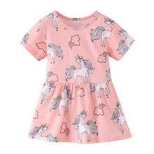Summer Girls Dress Kids Floral Dress Cartoon Unicorn Printed Girls Dresses Baby Princess Dress for Kids Children Clothes