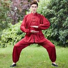 Старинные бордовый китайских мужчин кунг-фу форма хлопок тай-чи костюм с длинным рукавом Одежда размер М, чтобы XXXL NS015