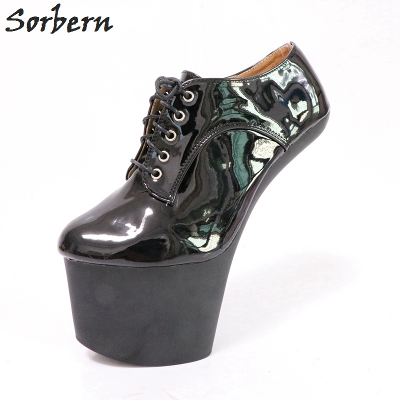 Sorbern Black Shiny Women Pumps Lace-Up Thick Platform Shoes Heelless Hoof Heels Designer High Heel Shoes For Women Custom Color xjrhxjr women s lace up high heels women pumps british style leather shoes thick heel round toe platform casual shoes for girls