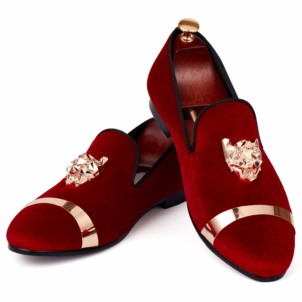 Harpelunde Slip On Men Wedding Shoes Tiger Buckle Red Velvet Loafer Shoes With Hoop Hot Sell Flats Size 7-14