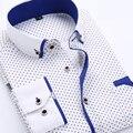 Camisa de los hombres de Negocios Camisas Formales de Manga Larga Vestido Ocasional camisas de Impresión de la Tela Escocesa Floral Camisa de Los Hombres Camisas Slim Fit Nuevo 2017