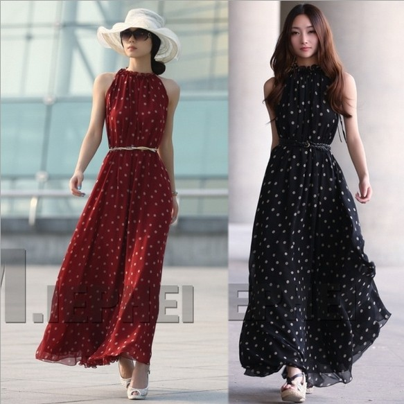 Women Summer Dress Polka Dots Maxi Long Casual Summer Beach Party Chiffon  Dress Plus Size Casual Dress wh4 7081633804a9