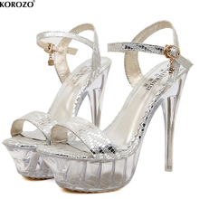 2017 Women Stripper Shoes Sexy 14 CM High Clear Heels Sandals 4.5 CM Platform Jelly Transparent Gladiator Exotic Party Pumps