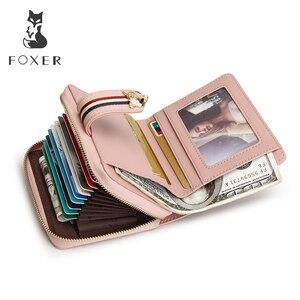 Image 3 - FOXER מותג האהבה יום מתנת נשים יוקרה קצר ארנק פרה עור גבירותיי כסף תיק אופנה נשי כרטיס בעל מזהה מקרה