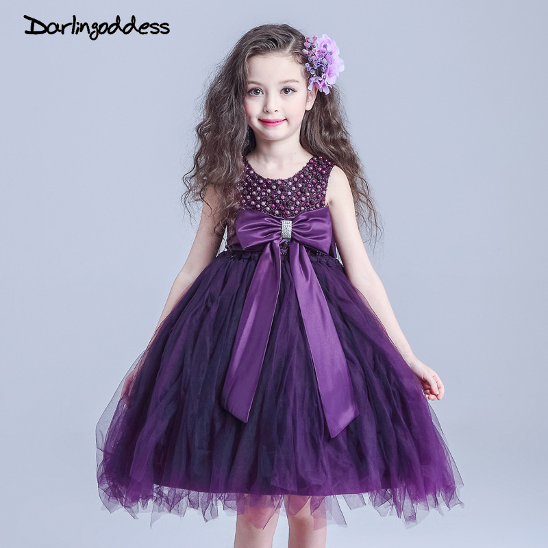 Darlingoddess Real Pictures Purple Flower Girl Dress Knee-Length Bow ...