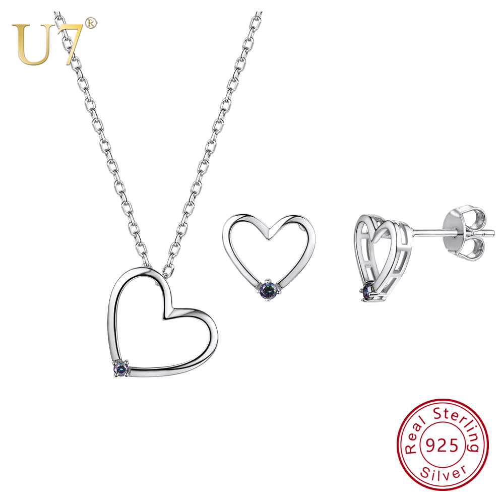 U7 925 Sterling Silver Love Heart Necklace And Stud Earrings Set With Gem Mother's Day Gifts for Girlfriend Women Jewelry SC91 free shipping ht 4 commercial manual tomato slicer onion slicing cutter machine vegetable cutting machine