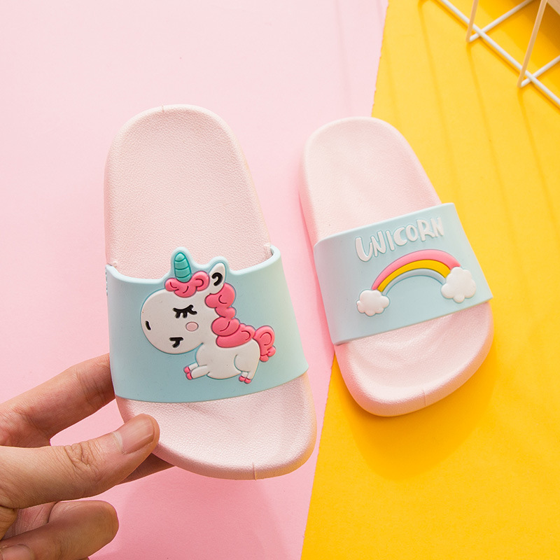 Unicorn Slippers for Boy Girl Rainbow Shoes 2019 Summer Toddler Animal Kids Indoor Baby Slippers PVC Cartoon Kids Slippers(China)