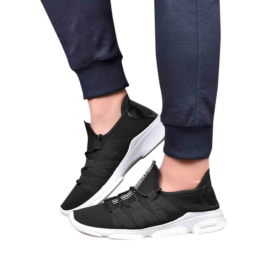 Men Mesh Cross Tied Breathable Shoes Casual Shoes Non Slip Toe Flat shoes mesh shoes outdoor casual shoes tenis superstar simple men s casual shoes with criss cross and color block design