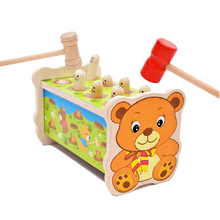 2016 New Wooden Cute Small Bear Whac-A-Mole Toys Hamster Attack Poke A Mole  Children Noise Maker Educational
