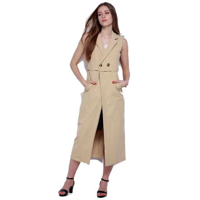 Button Slim Sleeveless Long Trench Vest Women Sleeveless Office Coat Vest Long Coat European Vest Female 2017 FS0432