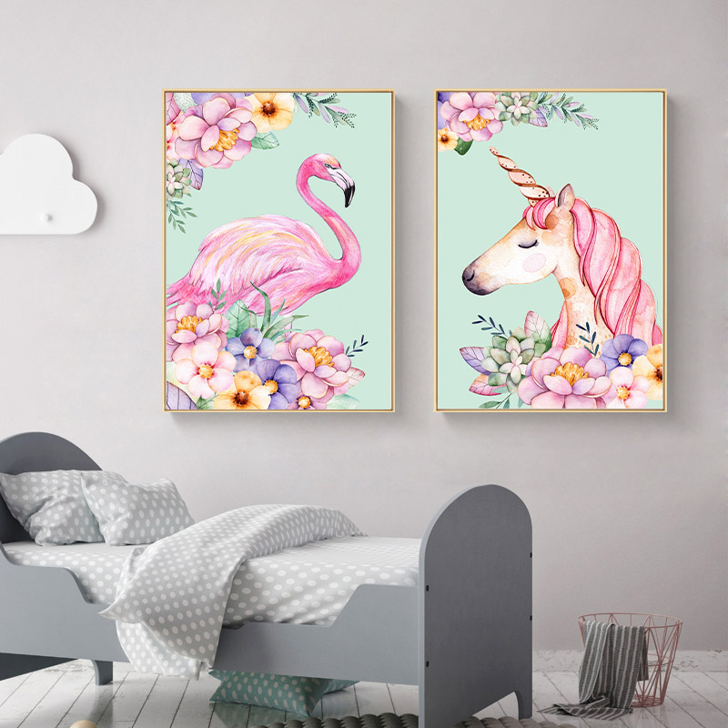 Flamingo unicorn flower nordic poster animal canvas art prints art painting decorative picture for Canvas prints childrens bedrooms
