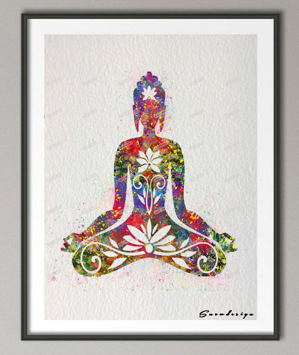 DIY Original watercolor OM Buddha Floral Yoga poster print Pictures canvas painting Modern wall art Home Decoration wall hanging