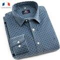 LANGMENG Mens Corduroy casual Shirt 100% algodão Nova 2016 Primavera Outono Camisas de Vestido de Alta Qualidade da forma Dos Homens Camisa Slim Fit