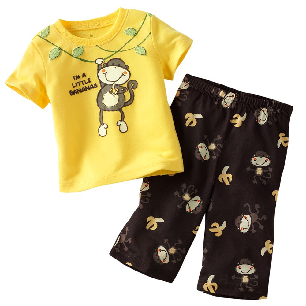 Jumping Beans pērtiķu mazuļu zēnu drēbju uzvalks dzeltenā - Bērnu apģērbi - Foto 1