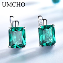 UMCHO Luxury Rectangle Created Emerald Clip Earrings 925 Sterling Silver Colorful Gemstone For Women Christmas Gifts