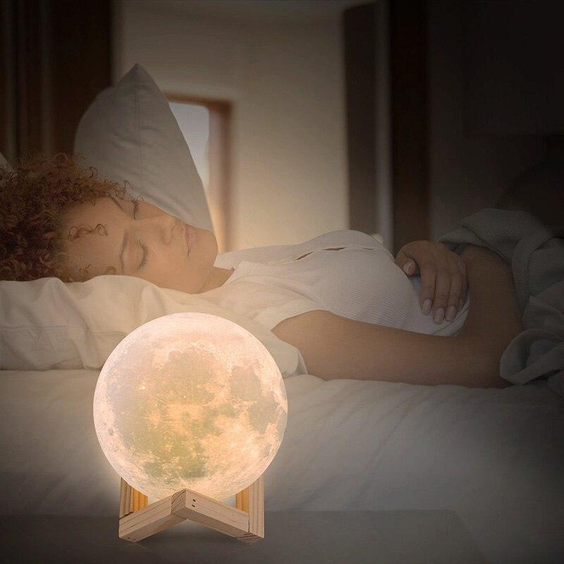 Image 4 - 3D 印刷月ランプ充電式夜の光の Rgb 色変更タッチスイッチ寝室 3D 月面月ランプホームデコレーションクリエイティブギフト    グループ上の ライト