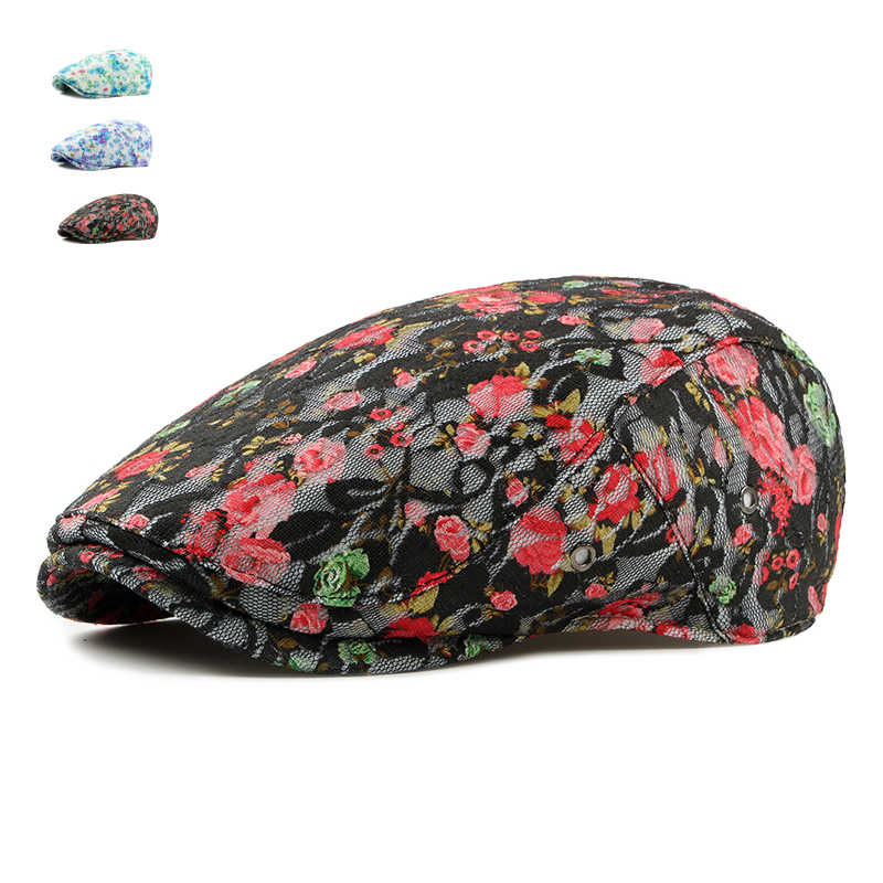 New Spring Summer Adult Cotton Beret Caps For Women Rose Adjustable Causal Flat Hats Adjustable Floral Printing Sun Cap