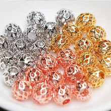 10pcs 4 6 8mm Rose Gold Metal Ball Loose Spacer Beads Hollow Beads for Jewelry Making Charms Bracelets DIY Findings Z854 x royal 10pcs lot stainless steel diy jewelry making findings cross shape loose beads 5 8mm small hole gold rose gold metal bead