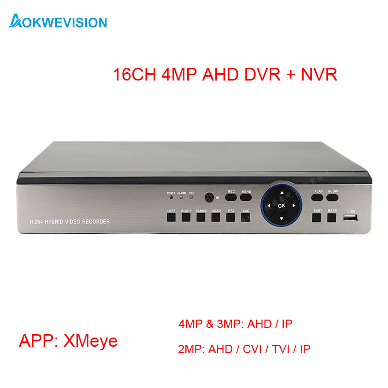 Nuovo arrivo 4MP 3MP 1080 P AHD 16ch DVR 2 SATA HDD AHD TVI CVI Telecamera ip all in one DVR per H.264 video recorderNuovo arrivo 4MP 3MP 1080 P AHD 16ch DVR 2 SATA HDD AHD TVI CVI Telecamera ip all in one DVR per H.264 video recorder