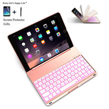 Keyboard untuk iPad Udara A1474 Colorful Backlight Wireless Bluetooth Keyboard Case Cover untuk iPad Air A1475 Paduan Aluminium Fundas(China)