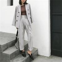 Plaid suit suit female autumn New Double breasted plaid casual fashion suit + nine pants Loose two piece suit women