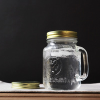High Quality Transparent Glass Cup With Lid Handgrip Drinking Jar Drinkware Cold Water Juice Milk Tea