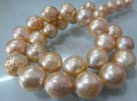Beautiful NEW elegant 12 13mm natural Japan kasumi pink pearl necklace 18inch