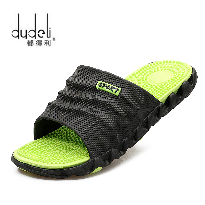 DUDELI 2019 New Summer Cool Water Flip Flops Men High Quality Soft Massage Beach Slippers,Fashion Man Casual Shoes