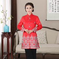 Traditional Chinese Long Coat Women S Satin Red Jacket Size M 4XL