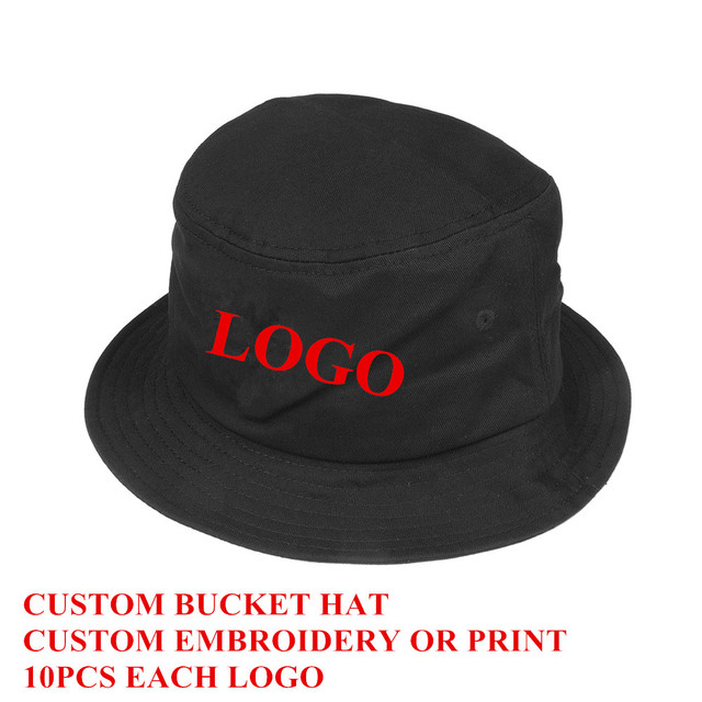 a462e6cf773 Custom Bucket Hat Cotton Black Adult Men Women Personalized Embroidery  Print Logo Sports Fashion Gorras 10 Piece Free Shipping