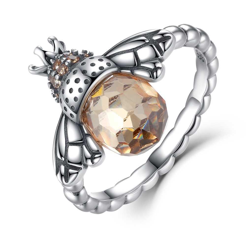 WOSTU 100% 925 เงินสเตอร์ลิงสไตล์งานแต่งงานที่ละเอียดอ่อนแหวนมงกุฎหัวใจ Bee Original แหวนเครื่องประดับหมั้น