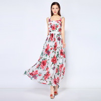 High quality 70% silk rose print BOHO dress 2018 summer elegant ruffles dress fashion floral print Slip Dress S541