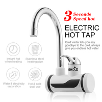 EASEHOLD 3000W Instant Tankless Electric Hot Water Heater Faucet Kitchen Instantaneous Heating Tap Water Heater With LED EU Plug