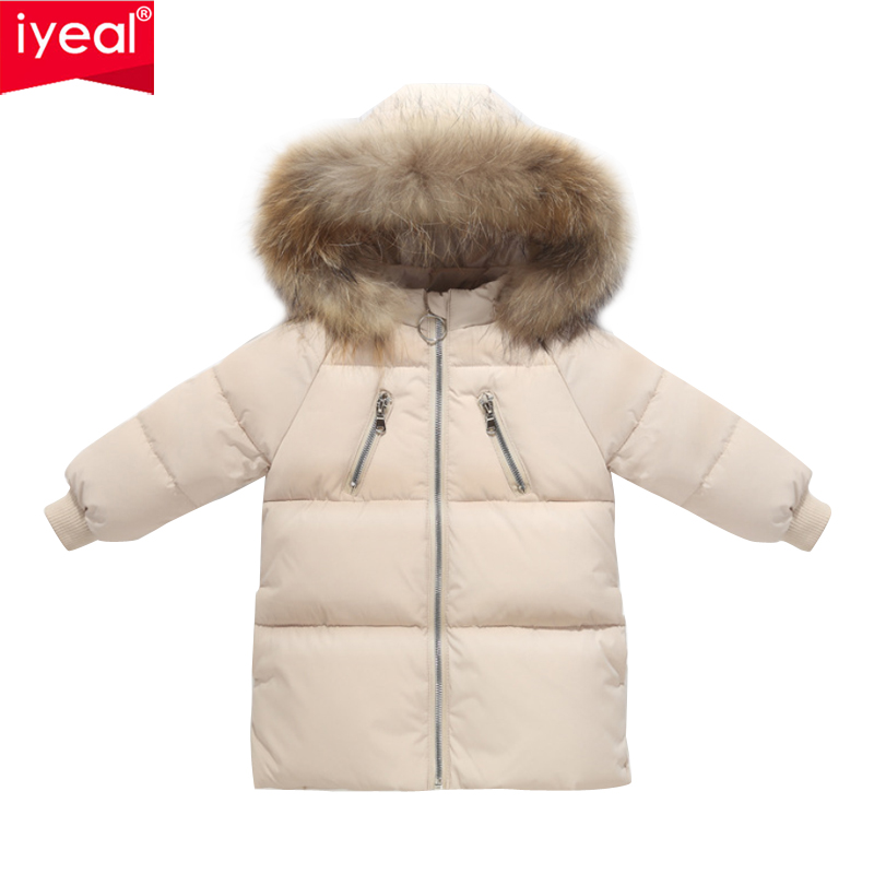 IYEAL Children Down <font><b>Jacket</b></font> Parka For Boys Girls Winter Down Coat Baby Winter <font><b>Feather</b></font> Snow Wear <font><b>Kids</b></font> Baby Warm Outerwear Snowsuit image