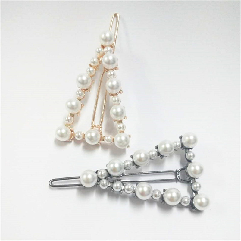 Charm Korea Metal Full Pearl Hair Pin Women Triangle Hair Clip Pin Barrette Headwear Hairpins Jewelry Accessories Hair Ornaments