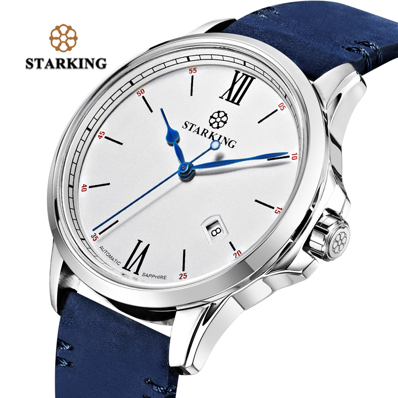 STARKING Men Sport Watch New Luxury Top Brand Military Army Business Male Clock Leather Auto Date Mens Mechanical Watches Gift naviforce men watch date week sport mens watches top brand luxury military army business rubber strap quartz male clock new 9123