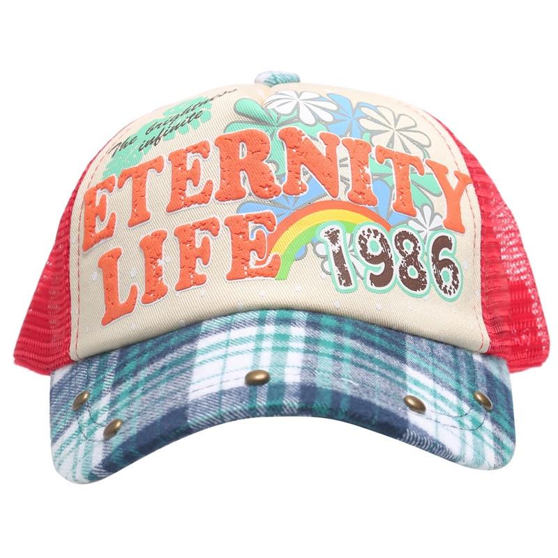 2016 Girl Eternity Life Floral Plain Mesh Hat Trucker Hat Cap Summer Hats Children Caps Girl Baseball cap 3-12 Ages Children Hat
