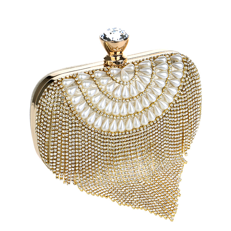 Tassel Rhinestones Clutch Beading Lady Aftenposer Diamanter Små Purse Chain Shoulder Handbags Wedding Party Evening Bag