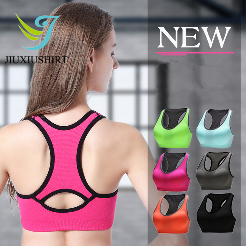 Women Fitness Yoga Push Up Sports Bra Gym Running Padded Professional Shockproof Quick Dry Tank Top Plus Size Bra Top 6 Colors plus size printed empire waist peplum top