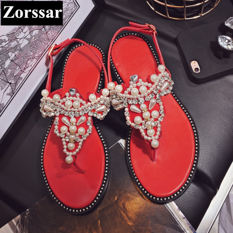2017 NEW Summer Shoes Women slippers flat Sandals Casual flats womens Slides shoes Fashion String Bead female flip flops new 2015 fashion high quality lazy shoes women colorful flat shoes women s flats womens spring summer shoes size eu35 40wsh488