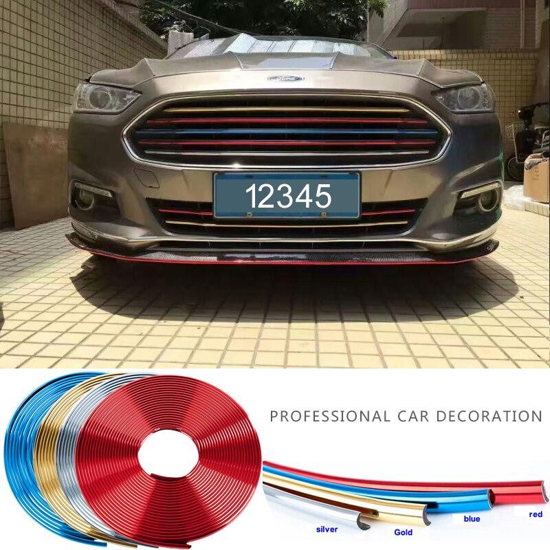 2 mètre/lot clips de calandre universel voiture chrome protection roue jante lumière cadre décoration bandes de Collision